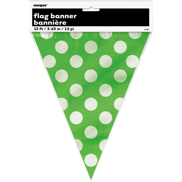 Flag Banner Green With White Polka Dots Decorations, 12 ft.