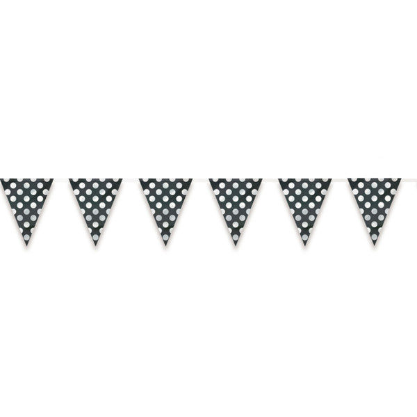 Flag Banner Black With White Polka Dots Decorations, 12 ft.