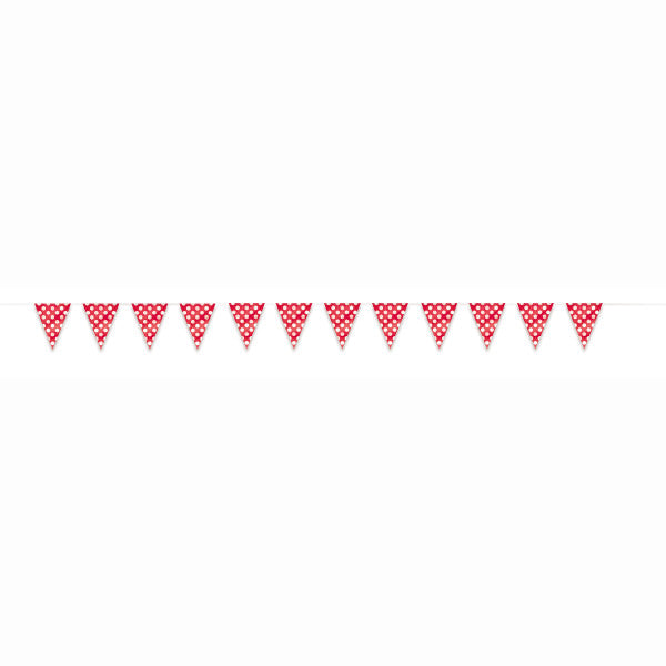Flag Banner Red With White Polka Dots Decorations, 12 ft.