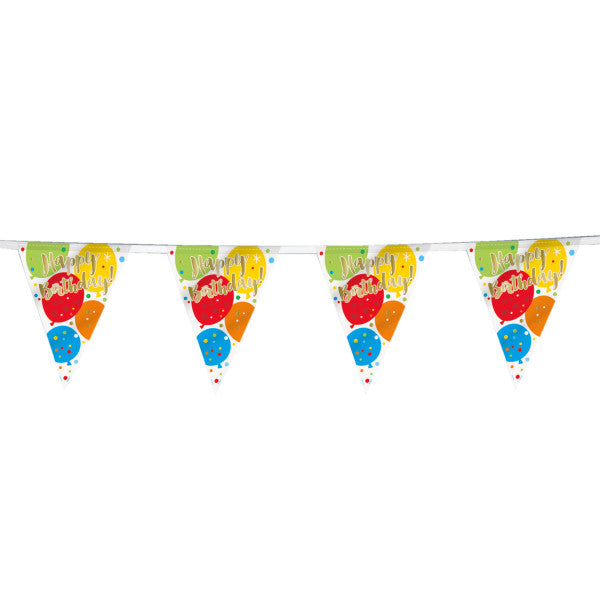 Flag Banner Happy Birthday Balloon Banner, 12 ft.