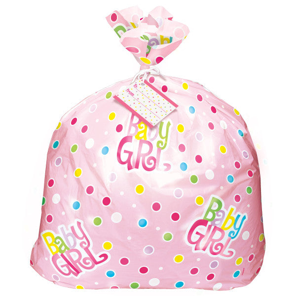 Jumbo Baby Girl Plastic Gift Bag With Yarn Tie and Gift Card, 1-ct.
