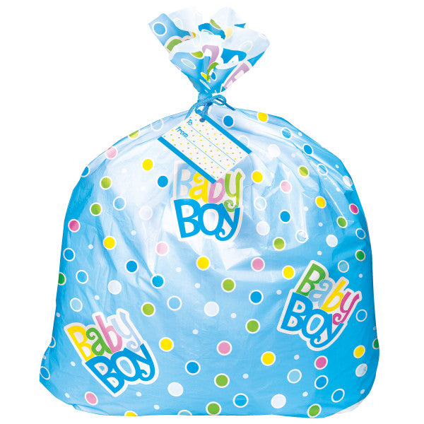 Jumbo Baby Boy Plastic Gift Bag With Yarn Tie and Gift Card, 1-ct.