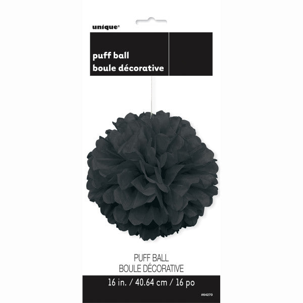 "16"" Large Puff Ball Black Decorations, 1-ct."