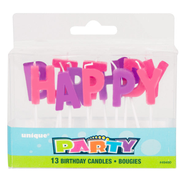 Happy Birthday Letter Candles Pink