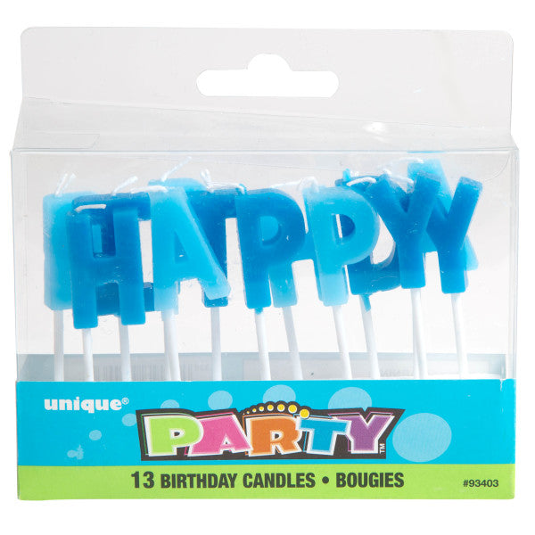 Happy Birthday Letter Candles Blue