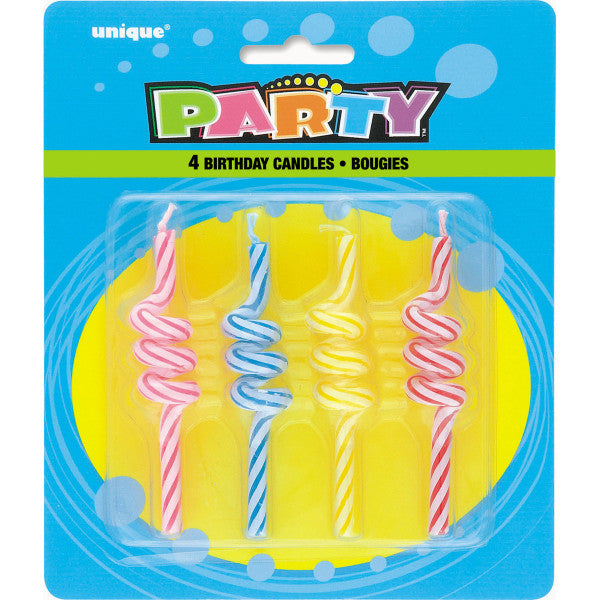 Birthday Spiral Candles, 4-ct.