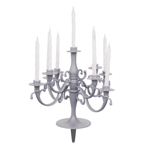 Birthday Candelabra With Candles Silver