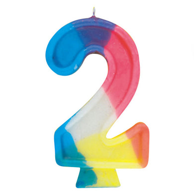 Happy Birthday Multi Color Candle Big Number 2