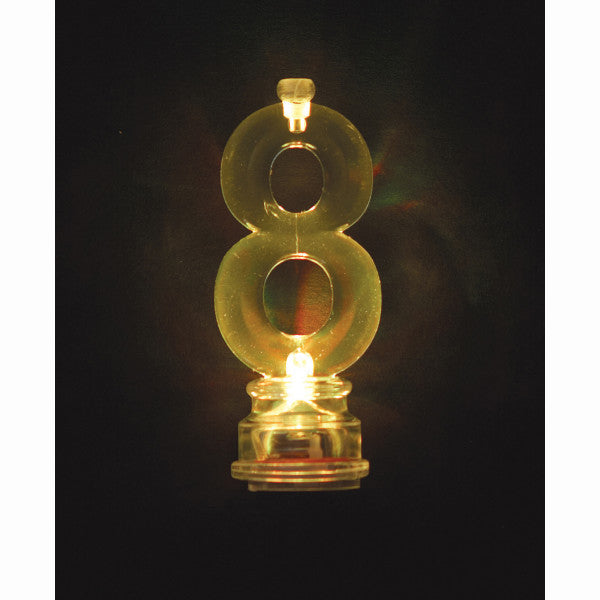 Flashing Number 8 Candle Holder With Candles