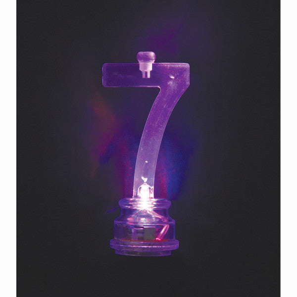 Flashing Number 7 Candle Holder With Candles