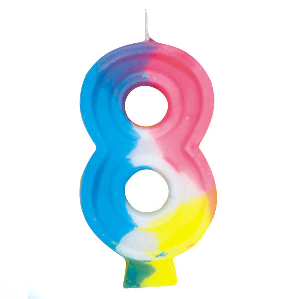 Happy Birthday Multi-color Candle Big Number 8