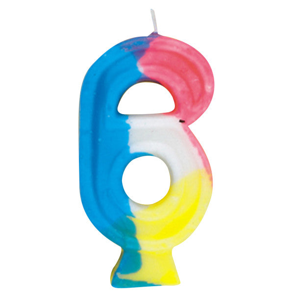 Happy Birthday Multi-color Candle Big Number 6
