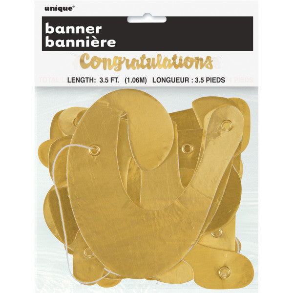Congratulations Gold Banner, 3.5 ft.