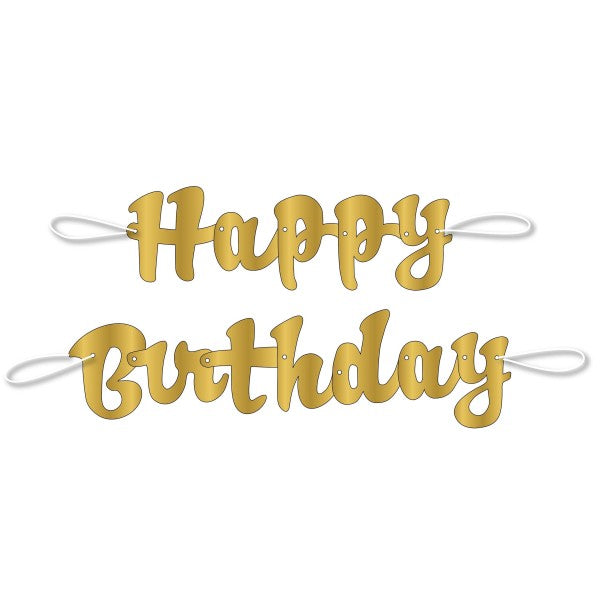 Happy Birthday Gold Script Banner, 3.5 ft.