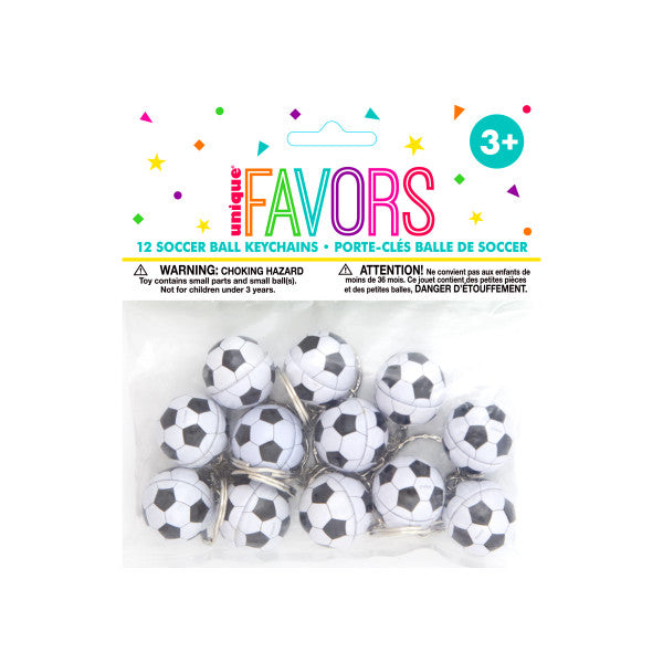 Soccer Ball Key Chains Party Favors, 12-ct.