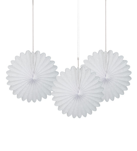 "6"" Decorative Mini Hanging Fans White, 3-ct."