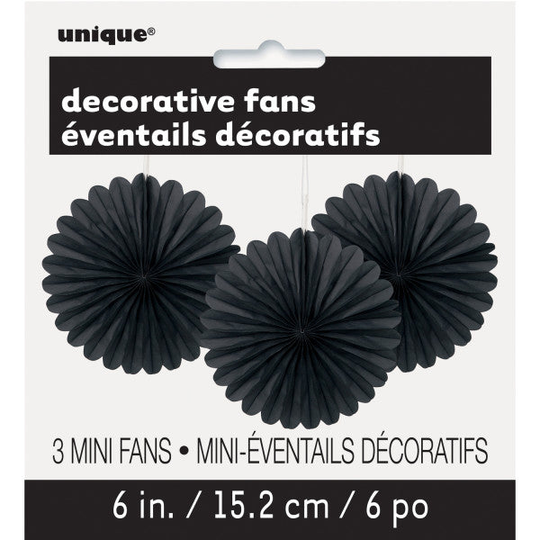 "6"" Decorative Mini Hanging Fans Black, 3-ct."