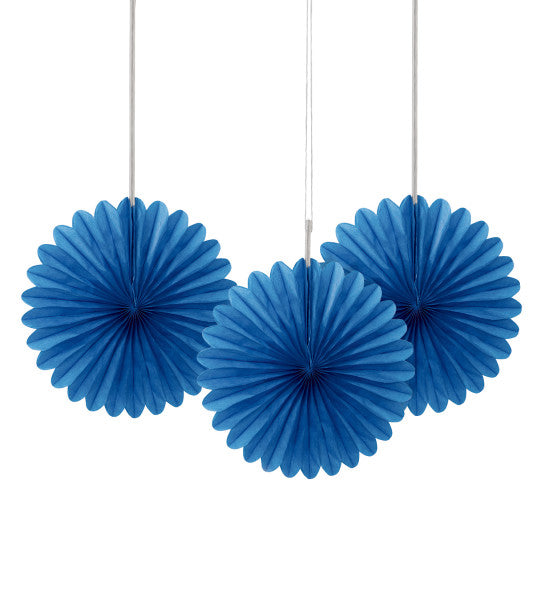 "6"" Decorative Mini Hanging Fans Blue, 3-ct."