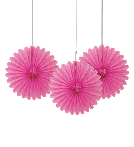 "6"" Decorative Mini Hanging Fans Pink, 3-ct."