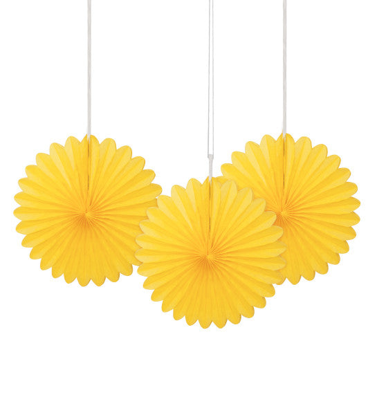 "6"" Decorative Mini Hanging Fans Yellow, 3-ct."