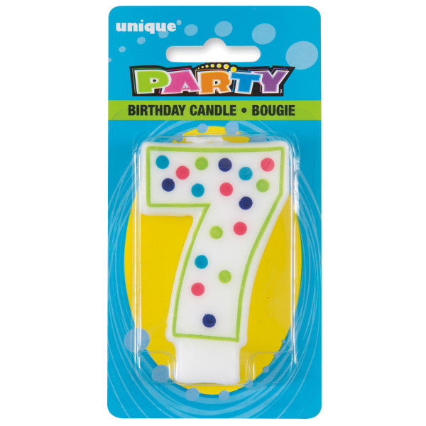 Birthday Candle Colorful Dots Design Number 7