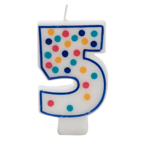 Birthday Candle Colorful Dots Design Number 5