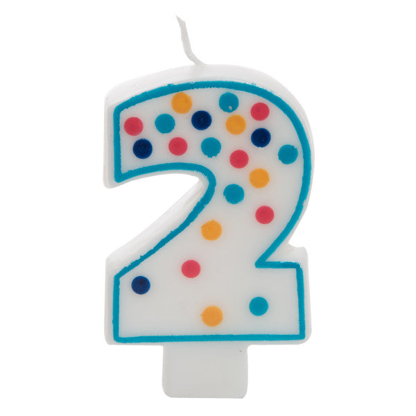 Birthday Candle Colorful Dots Design Number 2