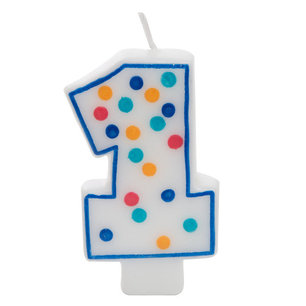 Birthday Candle Colorful Dots Design Number 1