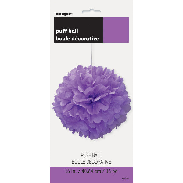 "16"" Large Puff Ball Purple Decorations, 1-ct."
