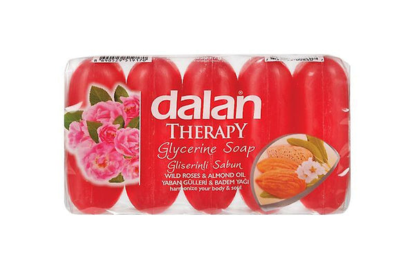 Dalan Therapy Glycerine Bar Soap - Wild Roses & Almond Oil, 5 Pack