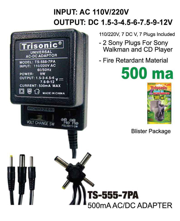 AC/DC Adapter 500 mA 7-Way
