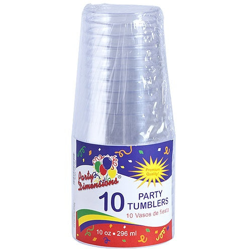10 oz. Clear Plastic Tumbler, 10-ct.