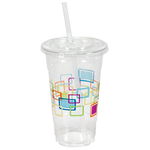 24 oz. Decorated Clear Plastic Cups with Lids & Straws, 10-ct.