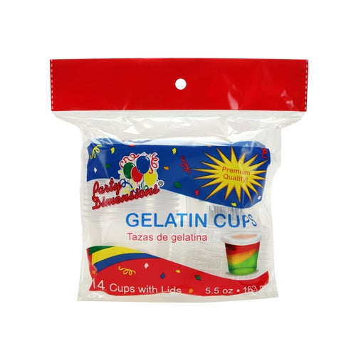 5.5 oz. Plastic Gelatin Cup with Lid, Clear, 14-ct.