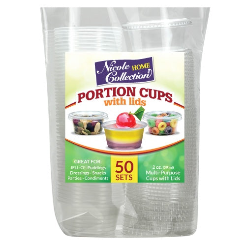 2 oz. Portion Cups with Lids - Clear - 50 Count