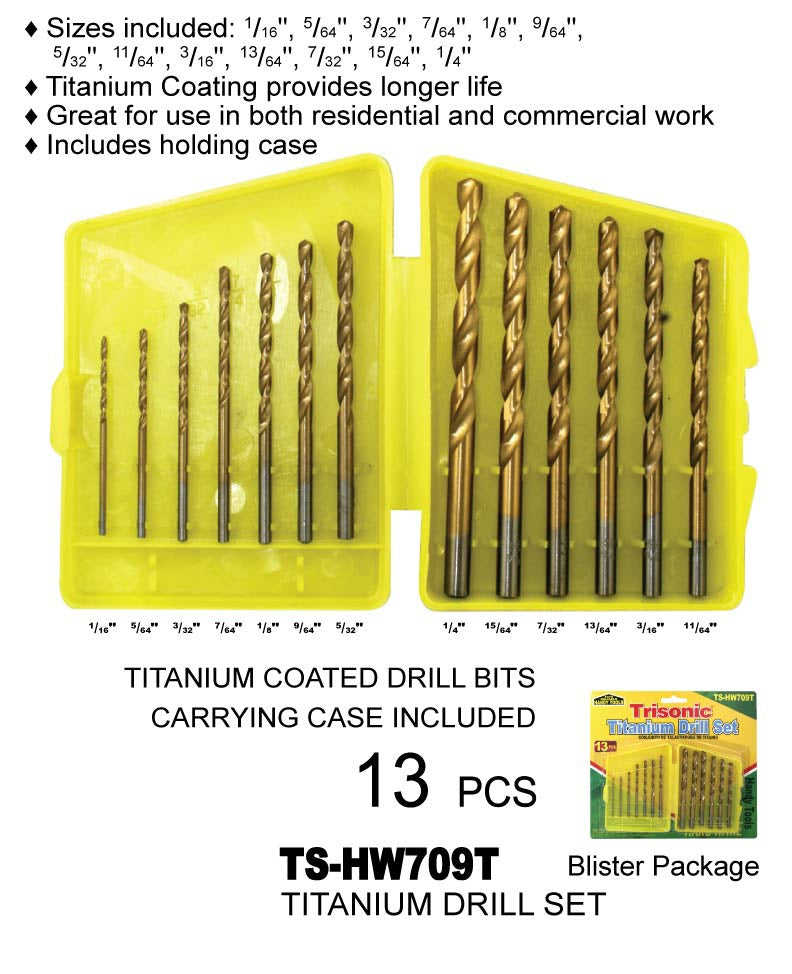 Assorted Titanium Drill Set, 13-ct.