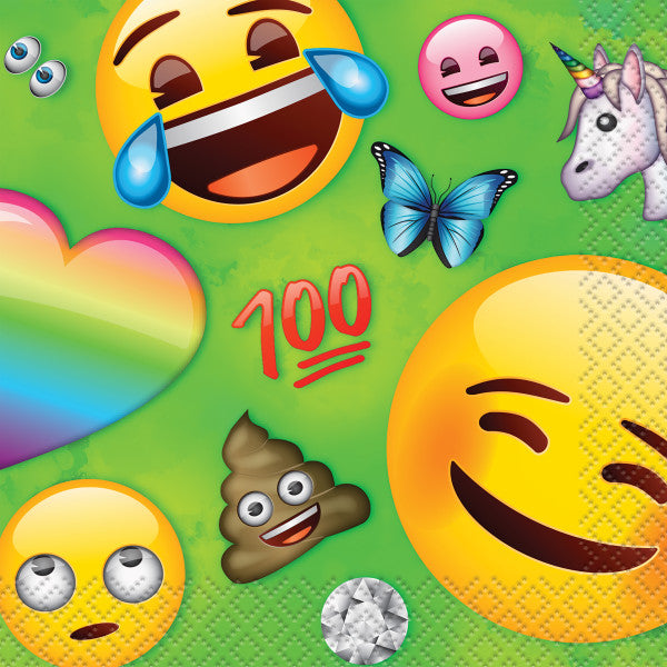 Rainbow Fun Emoji Beverage Napkins, 16ct
