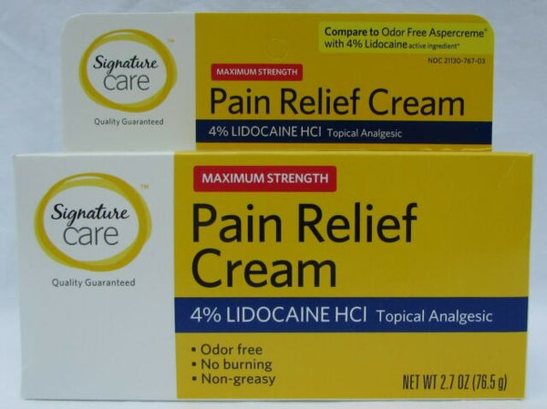 Signature Care Maximum Strength Pain Relief Cream 2.7 oz (EXP 04/20)