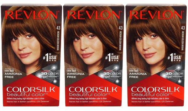 Revlon ColorSilk Beautiful Color™ Hair Color - 43 Medium Golden Brown (Pack of 3)