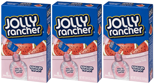 Jolly Rancher Watermelon Sugar Free Singles Drink Mix, 0.66 oz (Pack of 3)