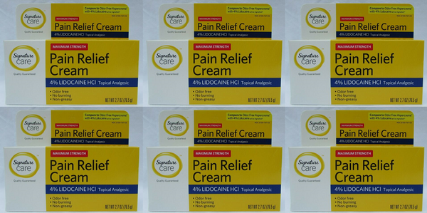 Signature Care Maximum Strength Pain Relief Cream 2.7 oz (EXP 04/20) (Pack of 6)