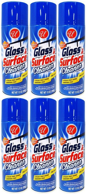 Glass & Surface Cleaner Foaming Action Streak-Free, 13 oz. (Pack of 6)