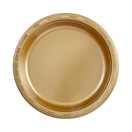 "9"" Plastic Plates - Gold - 10 Count"