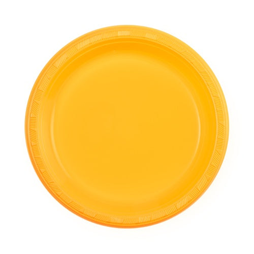 "9"" Sunshine Yellow Plastic Plate - 10 Count"