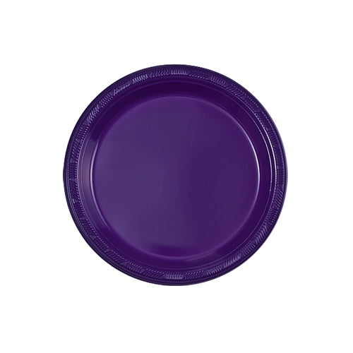 "7"" Purple Plastic Plate 15 Count"