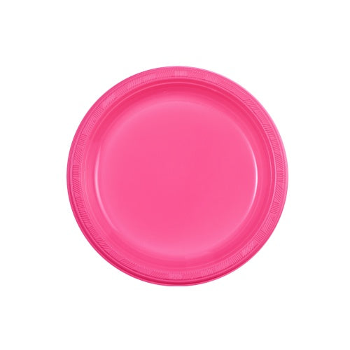 "7"" Plastic Plate - Hot Pink - 15 Count"