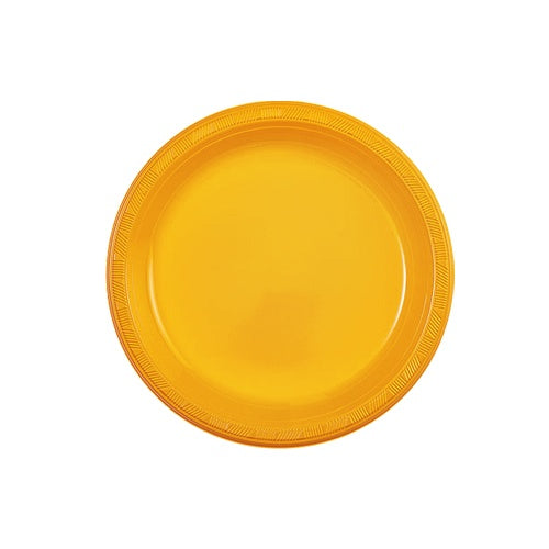 "7"" Sunshine Yellow Plastic Plate - 15 Count"