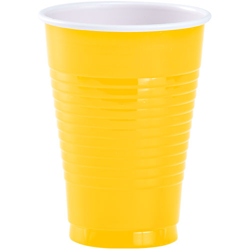12 oz. Plastic Cup - Sunshine Yellow - 20 Count