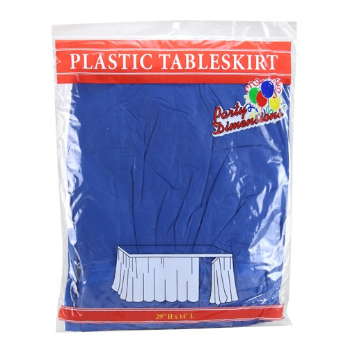 "29"" X 14' Blue Plastic Tableskirt"
