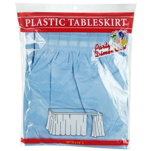 "29"" X 14' Light Blue Plastic Tableskirt"